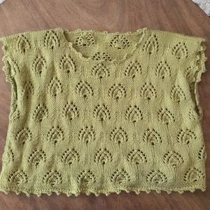 Tops - Green vintage Hand Knit Boxy Sweater